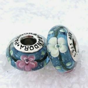 Pandora pair of pink and white flower Muranos.